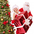 Stock Photo: Santa claus and christmas girl.