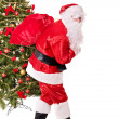 Santa claus carrying sack by christmas tree. — Stock Photo