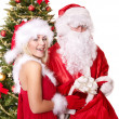 Santa claus and christmas girl. — Stock Photo #7846737