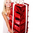 Girl holding stack gift box .. — Stock Photo #7846805