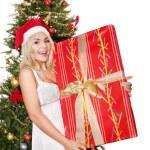 Girl in santa hat holding red gift box. — Stock Photo #7846871