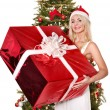 Girl stack gift box by christmas tree.. — Stock Photo #7846893