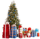 Christmas tree silver and blue, group gift box, copy space. — Stock Photo