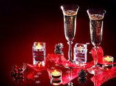 Boże narodzenie martwa natura z szampanem. — Zdjęcie stockowe