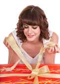 Girl with big red gift box. — Stock Photo