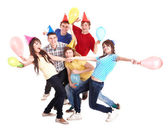 Group of in party hat. — Stock Photo