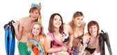 Group of young in bikini. — Stock Photo