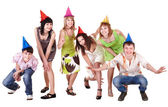 Group of teenager in party hat. — Stok fotoğraf