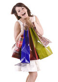 Emotion girl with bag shopping. — Stock Photo