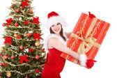 Boże Narodzenie dziewczyna w santa przytrzymanie pudełko. — Zdjęcie stockowe