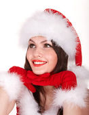Boże narodzenie dziewczyna w santa hat. — Zdjęcie stockowe