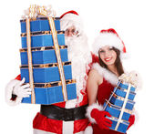 Santa clause and christmas girl with gift box group. — Stock Photo