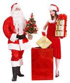 Papá Noel y Navidad chica. — Foto de Stock