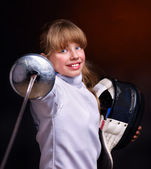 Child epee fencing lunge. — Stock Photo