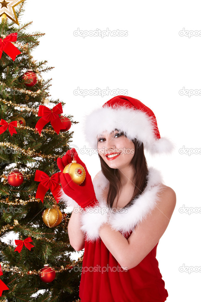 Girl in santa hat holding  christmas ball.  Isolated. Isolated. — Stock Photo #7843825
