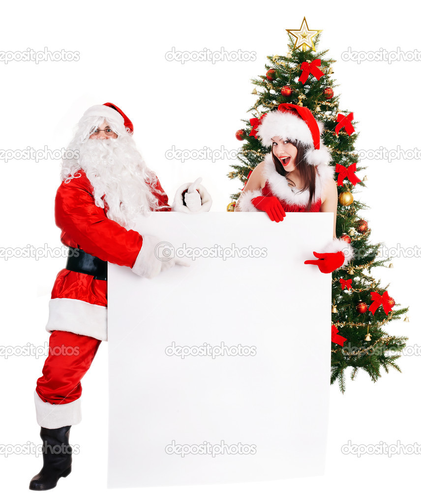 Santa claus and girl by christmas tree and banner. Isolated. — Stock Photo #7844648