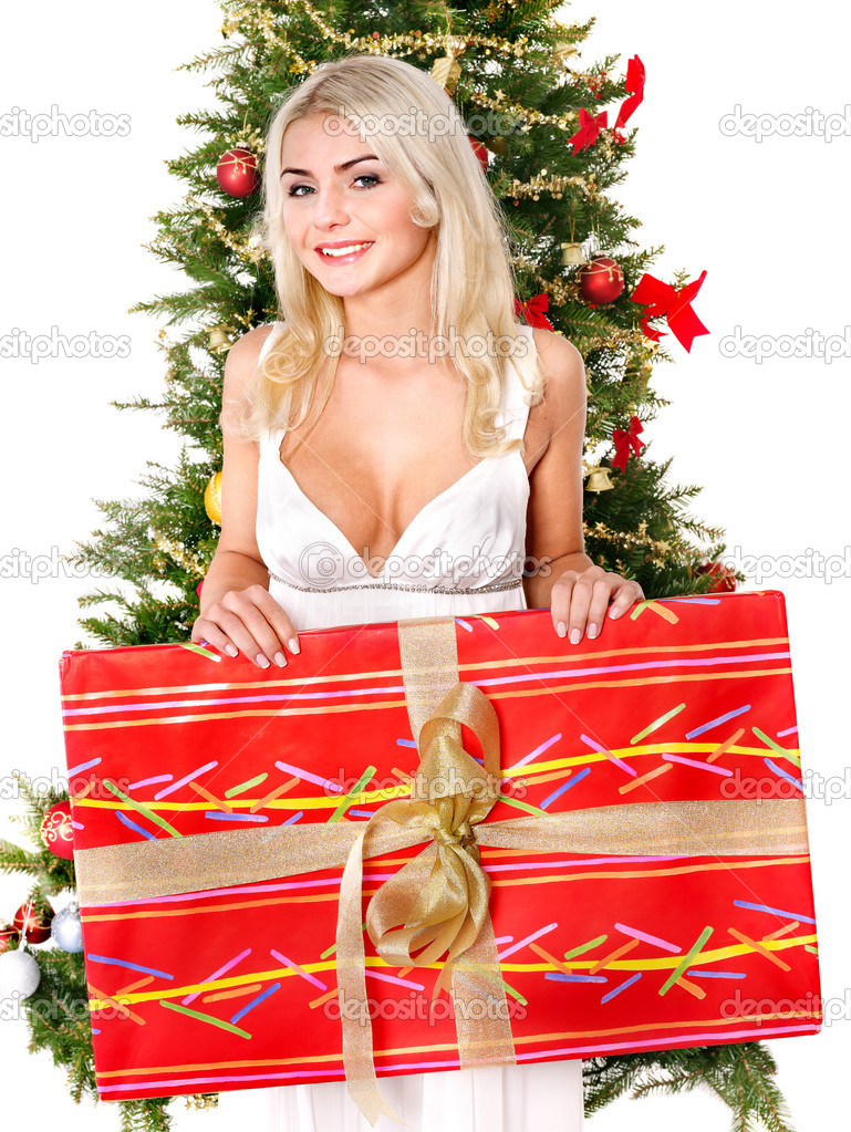 Girl  holding  gift box by christmas tree.. Isolated. — Stock Photo #7846821