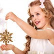Child decorate Christmas tree. — Stock Photo