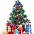 Christmas tree and group gift box. — Photo