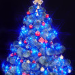 Christmas tree with light and blue star. - Stock Photo