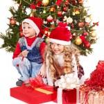 Kids with Christmas gift box. — Stock Photo #7893377