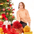 Young woman with Christmas gift box. — Stock Photo