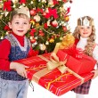Stock Photo: Kids with Christmas gift box.