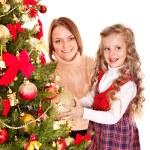 Family decorate Christmas tree. — Stock Photo