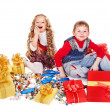 Kids with gift box and sweet. — Stock Photo