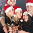 Group young in santa hat. — Stock Photo #7893506