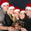 Group young in Santa hat. — 图库照片
