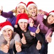 Group young in santa hat . — Stockfoto #7893511