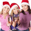 Group young in santa hat — Stock Photo #7893515
