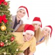 Group young in santa hat. — Stock Photo #7893521