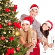 Group young in Santa hat. — Stock Photo #7893527