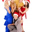 Group young in Santa hat — Stockfoto