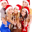 Group young in santa hat. — Stock Photo #7893538