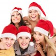 Group young in santa hat . — Stock Photo #7893539