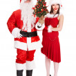 Santa claus and girl holding christmas tree. — Stock Photo