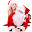 Stock Photo: Santa claus and girl thumb up..