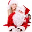 Santa claus and girl thumb up.. — Stock Photo #7894174