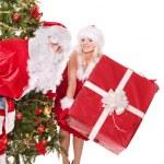 サンタ クロースとクリスマス ツリーでギフト用の箱を持って女の子 — ストック写真 #7894181