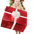 Girl in Santa hat holding red gift box. — Stock Photo