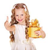 Kid with birthday gift box. — Stock Photo