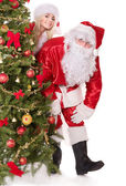 Santa claus and christmas girl. — Stock Photo