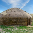 Yurt in field — Stock Photo