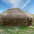 Yurt in field - Stock Photo
