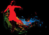 Abstract background with dancing girl in a red dress — Stock Vector