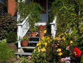 Flower around wooden steps — Stock Photo
