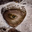 Unusual and spooky eye in a rock pool — Stok fotoğraf